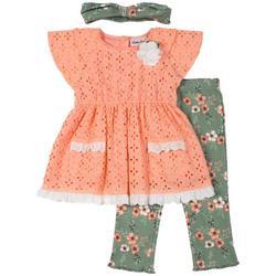 Baby Girls 3-pc. Floral Pant Set