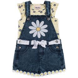 Baby Girls 2-pc. Daisy Denim Shortall Set