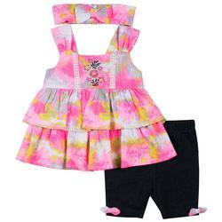 Baby Girls 3-pc. Tie Dye Short Set