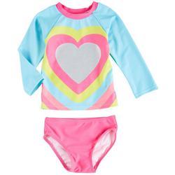 Baby Girls Heart Long Sleeve Rashguard Set