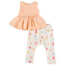 Jessica Simpson Toddler Girls 2-pc. Heart Peplum Pant Set