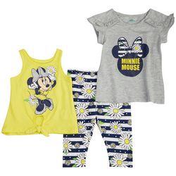 Disney Baby Girls 3-pc. Minnie Mouse Floral Pant Set