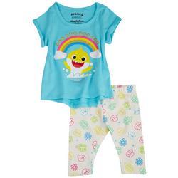 Baby Girls 2-pc. Rainbow Shark Pants Set