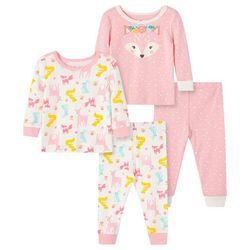Little Me Toddler Girls 4-pc. Woodland Pajama Set