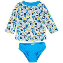 Toddler Girls 2-pc. Ditsy Rashguard Swimsuit