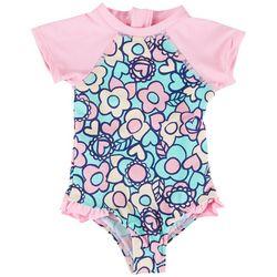 Floatimini Toddler Girls Floral Rashguard Swimsuit