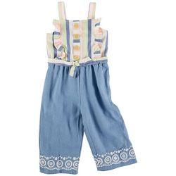 Little Lass Toddler Girls Stripe Tie Front Jumpsuit