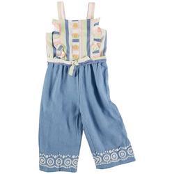 Toddler Girls Stripe Tie Front Jumpsuit
