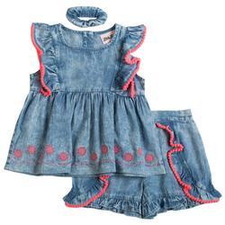 Toddler Girls 3-pc. Floral Denim Short Set