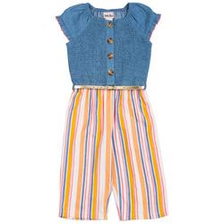 Toddler Girls Stripe Smocked Jumpsuit