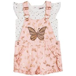 Little Lass Toddler Girls 2-pc. Butterfly Twill Shortall