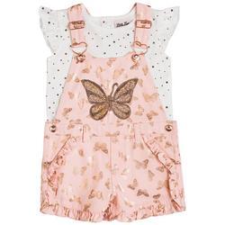 Toddler Girls 2-pc. Butterfly Twill Shortall Set