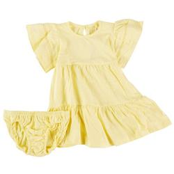 Toddler Girls Solid Woven Tier Dress