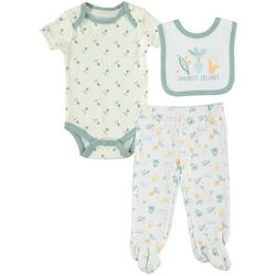 Baby Boys 3-pc. Veggie Bodysuit & Bib Set