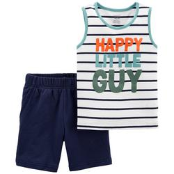 Baby Boys 2-pc. Happy Little Guy Short Set