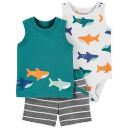 Baby Boys 3-pc. Shark Short Set