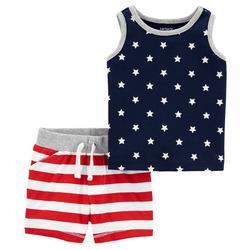 Baby Boys 2-pc. Stars & Stripes Short Set