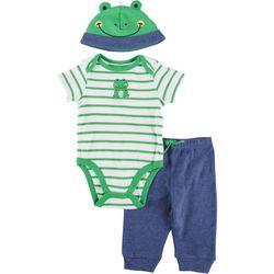 Little Me Baby Boys 3-pc. Frog Stripe Pant Set