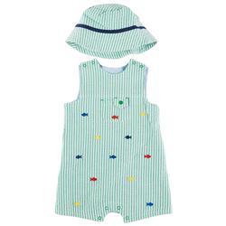 Baby Boys 2-pc. Fish Stripe Sunsuit Set