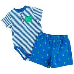Little Me Baby Boys 2-pc. Stripe Frog Short