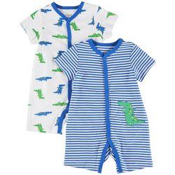 Little Me Baby Boys 2-pk. Gator Stripe Romper Set