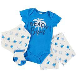 Baby Boys 4-pc. Beach Bum Bodysuit Short Set