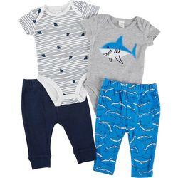 PL Baby Baby Boys 4-pc. Shark Pant Set