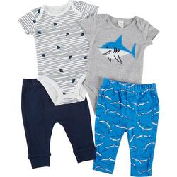 Baby Boys 4-pc. Shark Pant Set