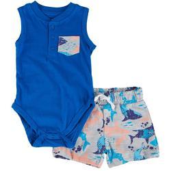 Baby Boys 2-pc. Shark Bodysuit Short Set