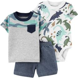 Baby Boys 3-pc. Dino Short Set