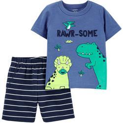 Baby Boys 2-pc. Rawr-Some Short Set