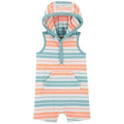 Baby Boys Striped Hooded Sleeveless Romper