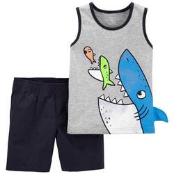 Baby Boys 2-pc. Shark Print Short Set