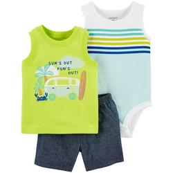 Baby Boys 3-pc. Sun's Out Fun's Out Short Set