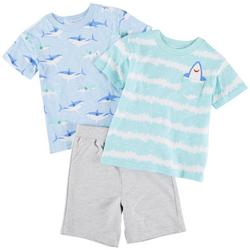 Baby Boys 3-pc. Shark Print Short Set