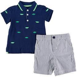 Baby Boys 2-pc. Gator Polo Short Set