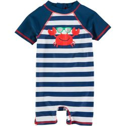 Floatimini Baby Boys Crab Stripe Rashguard Swimsuit