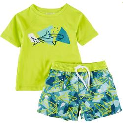 Baby Boys 2-pc. Shark Rashguard Set