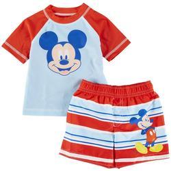 Baby Boys 2-pc. Mickey Mouse Rashguard Set