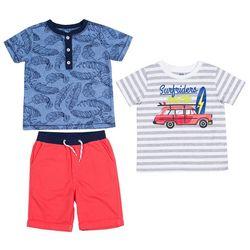 Little Lad Baby Boys 3-pc. Surf Riders Shorts Set