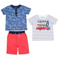 Baby Boys 3-pc. Surf Riders Shorts Set