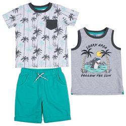 Little Lad Baby Boys 3-pc. Palm Tree Shorts Set
