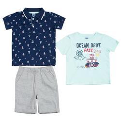 Baby Boys 3-pc. Sailboat & Anchor Shorts Set