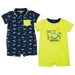 Little Lad Baby Boys 2-pk. Gator Print Romper Set