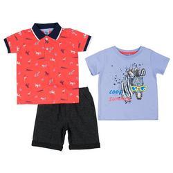 Baby Boys 3-pc. Zebra Shorts Set