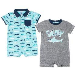 Little Lad Baby Boys 2-pk. Shark Romper Set