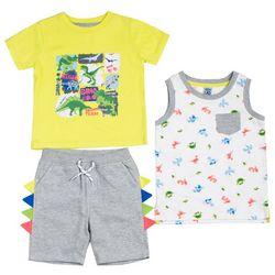 Little Lad Baby Boys 3-pc. Dino Print Shorts Set