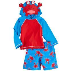 Baby Boys 2-pc. Crab Long Sleeve Rashguard Set