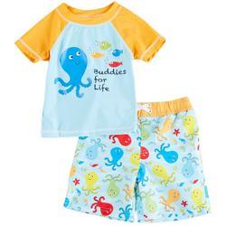 Baby Boys Octopus Short Sleeve Rashguard Set
