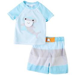 Baby Boys Shark Short Sleeve Rashguard Set